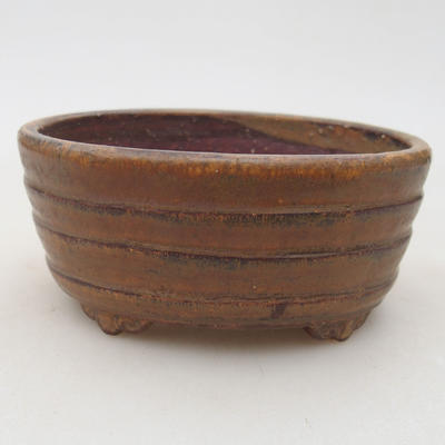 Ceramic bonsai bowl 10.5 x 9 x 4.5 cm, brown color - 1