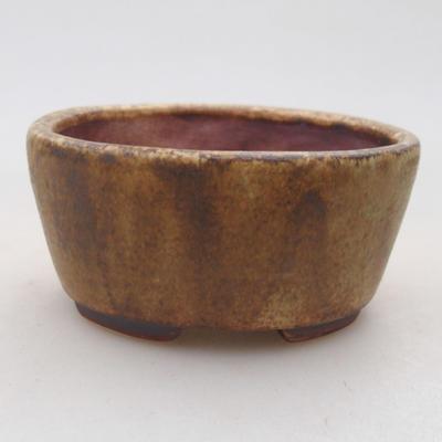 Ceramic bonsai bowl 7.5 x 6.5 x 3.5 cm, brown color - 1