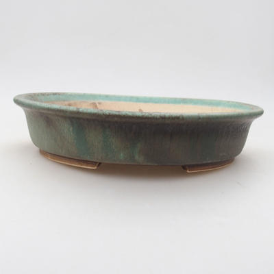 Ceramic bonsai bowl 23.5 x 21 x 5 cm, color green - 1