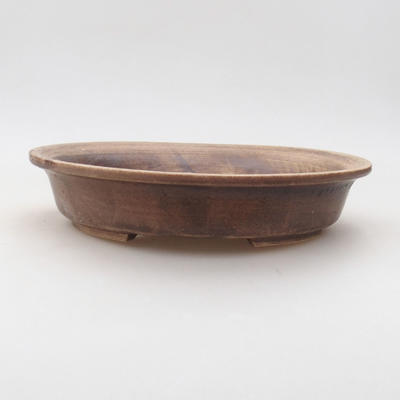 Ceramic bonsai bowl 23.5 x 21 x 5 cm, brown color - 1