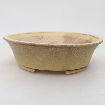 Ceramic bonsai bowl 14 x 12 x 3.5 cm, color yellow - 1