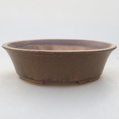 Ceramic bonsai bowl 14 x 12 x 3.5 cm, brown color - 1