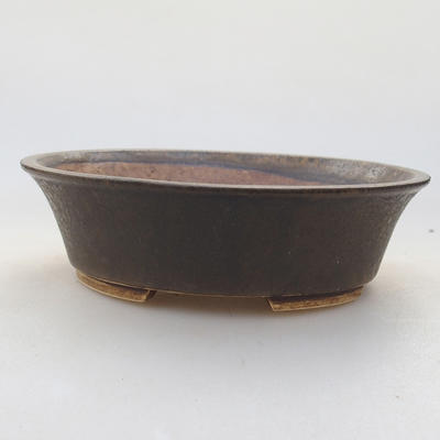 Ceramic bonsai bowl 14 x 12 x 3.5 cm, brown color - 1