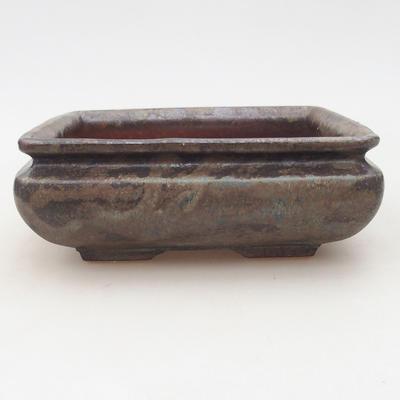 Ceramic bonsai bowl 15.5 x 15.5 x 5 cm, brown-blue color - 1