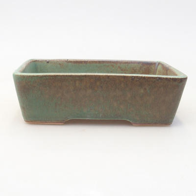 Ceramic bonsai bowl 12.5 x 9.5 x 3.5 cm, color brown-green - 1