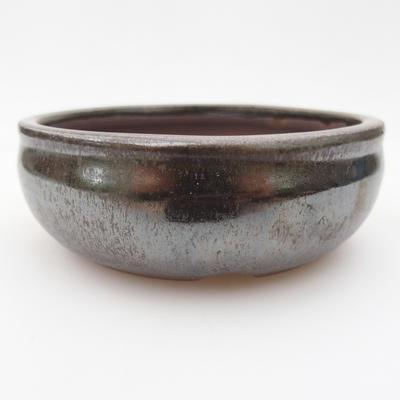 Ceramic bonsai bowl 10 x 10 x 3,5 cm, brown-green color - 1