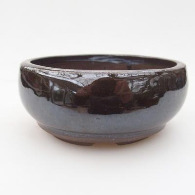 Ceramic bonsai bowl 11 x 11 x 4,5 cm, brown-green color - 1