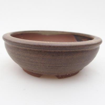 Ceramic bonsai bowl 10 x 10 x 3,5 cm, brown color - 1