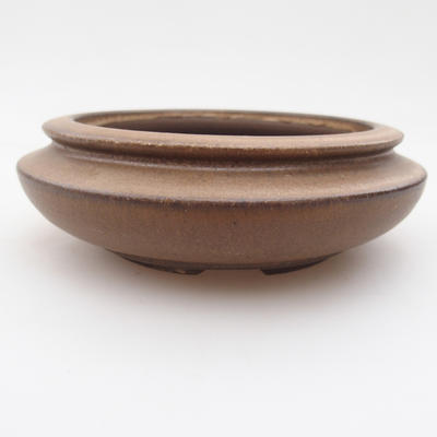 Ceramic bonsai bowl 11 x 11 x 4 cm, brown color - 1