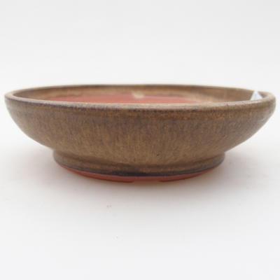 Ceramic bonsai bowl 11 x 11 x, 3 cm, brown color - 1