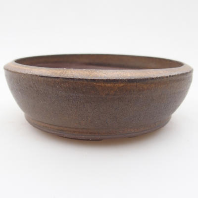 Ceramic bonsai bowl 11 x 11 x, 4 cm, brown color - 1