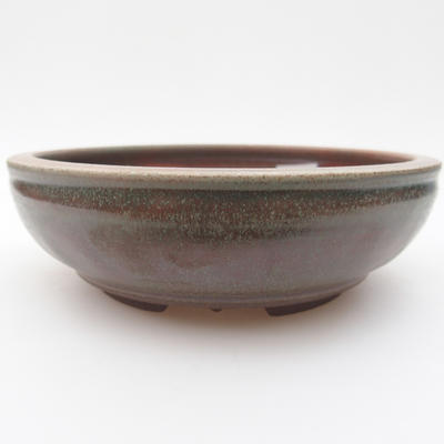 Ceramic bonsai bowl 15 x 15 x 4,5 cm, green-red color - 1