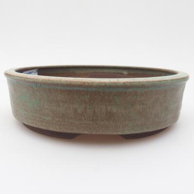 Ceramic bonsai bowl 15 x 15 x 4 cm, brown-green color - 1