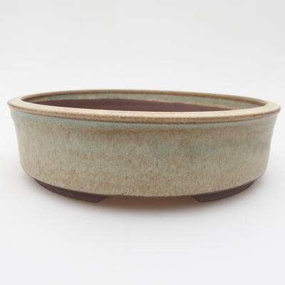 Ceramic bonsai bowl 17 x 17 x 4,5 cm, brown-green color - 1