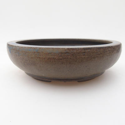 Ceramic bonsai bowl 15 x 15 x 4 cm, brown-blue color - 1
