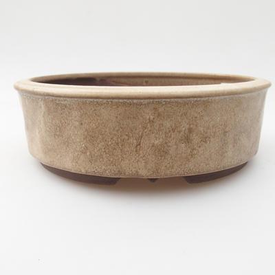 Ceramic bonsai bowl 16,5 x 16,5 x 5 cm, color beige - 1