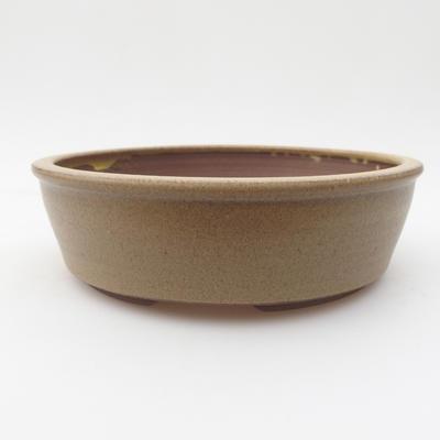 Ceramic bonsai bowl 17 x 17 x 4,5 cm, yellow-brown color - 1
