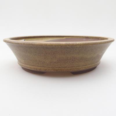 Ceramic bonsai bowl 17,5 x 17,5 x 4,5 cm, yellow-brown color - 1