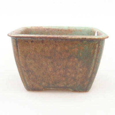 Ceramic bonsai bowl 8.5 x 8.5 x 5 cm, color brown-green - 1