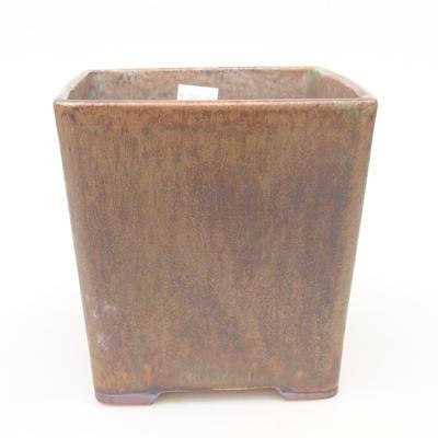 Ceramic bonsai bowl 13.5 x 13.5 x 13.5 cm, color brown-green - 1
