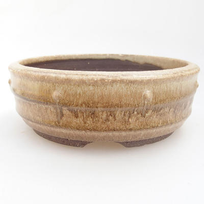 Ceramic bonsai bowl - 16,5 x 16,5 x 3,5 cm, color beige - 1