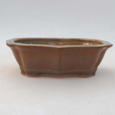 Ceramic bonsai bowl 14 x 10 x 4.5 cm, brown color - 1