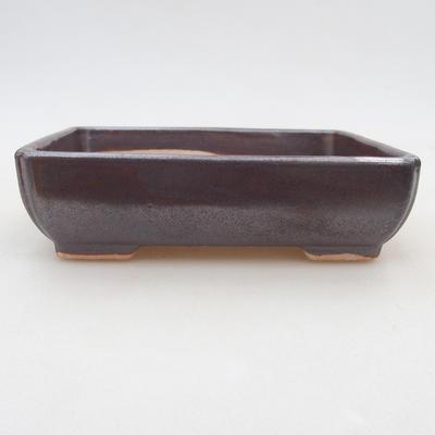 Ceramic bonsai bowl 13 x 10 x 4 cm, brown color - 1