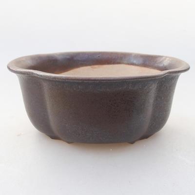 Ceramic bonsai bowl 13 x 11 x 5 cm, brown color - 1
