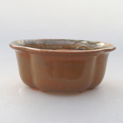 Ceramic bonsai bowl 13 x 11 x 5 cm, brown color - 1