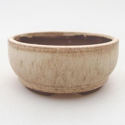 Ceramic bonsai bowl 8 x 8 x 3.5 cm, beige color - 1