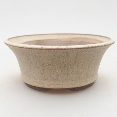 Ceramic bonsai bowl 11 x 11 x 4.5 cm, beige color - 1