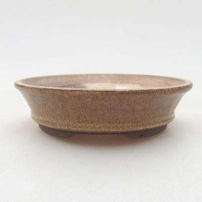 Ceramic bonsai bowl 11.5 x 11.5 x 3 cm, beige color - 1