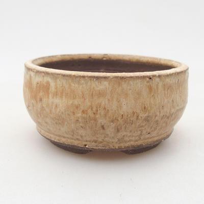 Ceramic bonsai bowl 8 x 8 x 4 cm, beige color - 1
