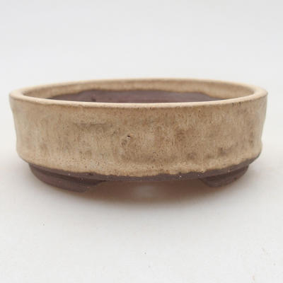 Ceramic bonsai bowl 9 x 9 x 3 cm, beige color - 1