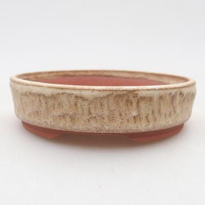 Ceramic bonsai bowl 10 x 10 x 2.5 cm, beige color - 1