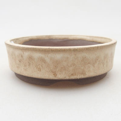 Ceramic bonsai bowl 8.5 x 8.5 x 2.5 cm, beige color - 1