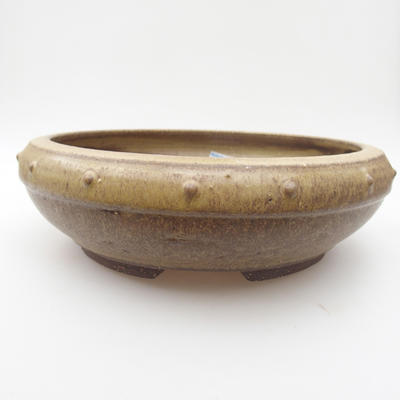 Ceramic bonsai bowl 22,5 x 22,5 x 7 cm, yellow-brown color - 1