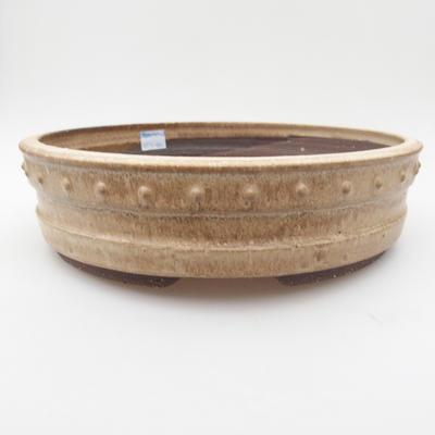 Ceramic bonsai bowl 25 x 25 x 7 cm, color beige - 1