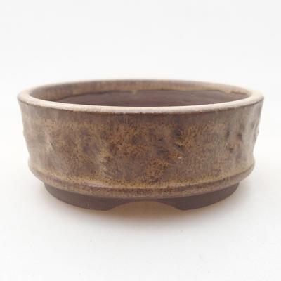 Ceramic bonsai bowl 7.5 x 7.5 x 2.5 cm, brown color - 1