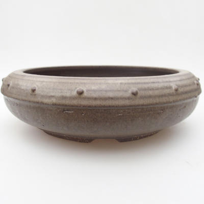 Ceramic bonsai bowl 23,5 x 23,5 x 7,5 cm, color gray - 1