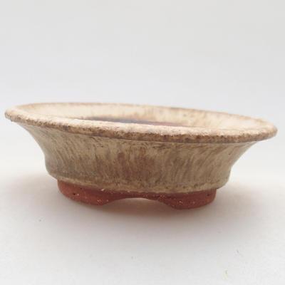 Ceramic bonsai bowl 9 x 9 x 2.5 cm, beige color - 1