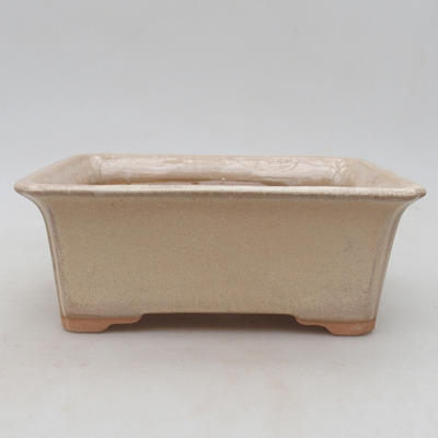 Ceramic bonsai bowl 18 x 14 x 7 cm, beige color - 1
