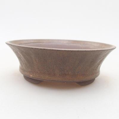 Ceramic bonsai bowl 11 x 11 x 3.5 cm, brown color - 1