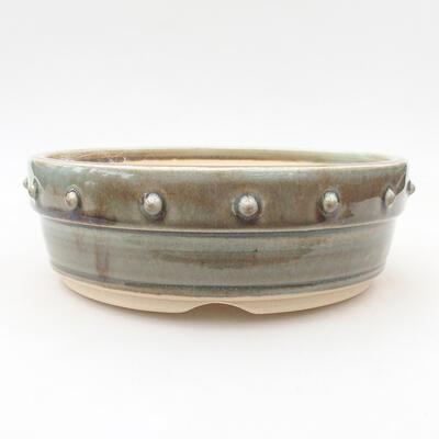 Ceramic bonsai bowl 18 x 18 x 6 cm, color green - 1
