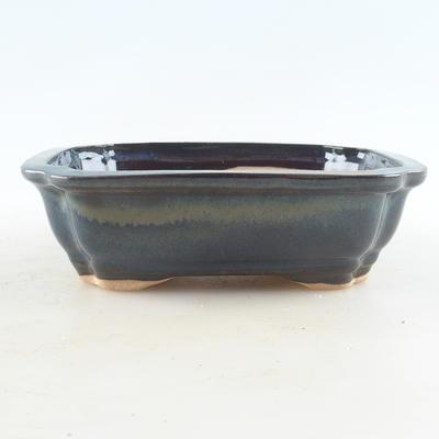 Ceramic bonsai bowl 16 x 12.5 x 4.5 cm, brown-blue color - 1