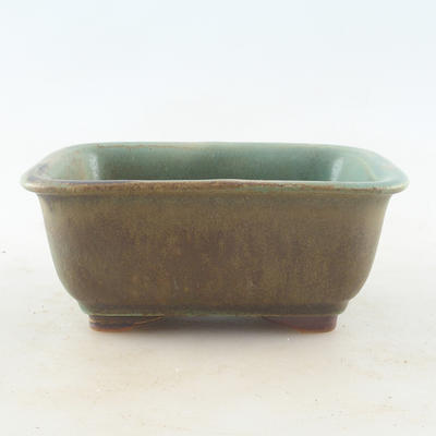 Ceramic bonsai bowl 13.5 x 10 x 6 cm, color brown-green - 1