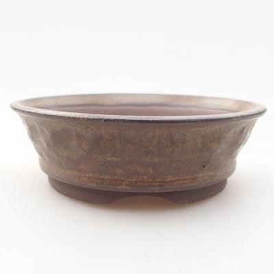 Ceramic bonsai bowl 10 x 10 x 3 cm, brown color - 1