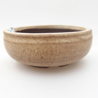 Ceramic bonsai bowl - 10 x 10 x 4 cm, color beige - 1