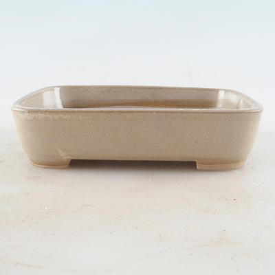 Ceramic bonsai bowl 13 x 9.5 x 3 cm, beige color - 1
