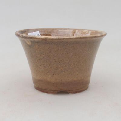 Ceramic bonsai bowl 11 x 11 x 7 cm, beige color - 1